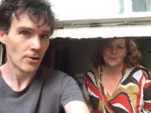 Michael Luke Walsh and Geraldine Brennan backstage at Camden Fringe 2014, little dreaming of the splendour that lies ahead